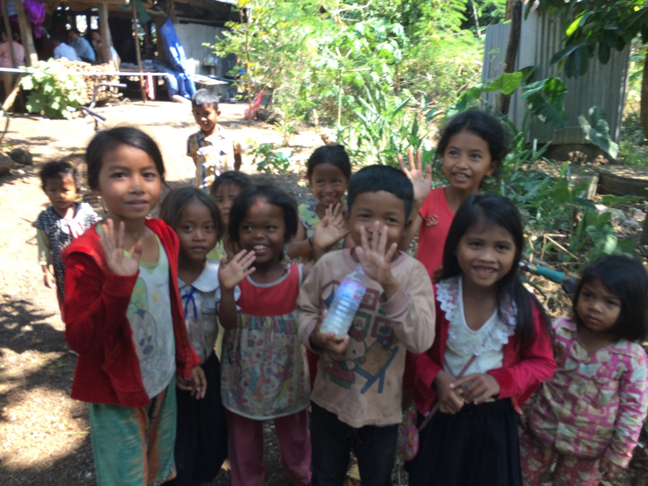 Cambodian Village Children Waving